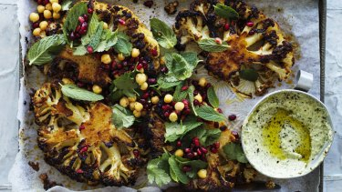Spice up your life: Cauliflower steaks with harissa and honey.
