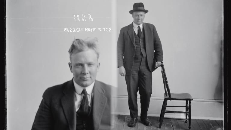 A rare photo of John Daniel 'Snowy' Cutmore (alias Harris, John McLaughlin, John Nolan, John Watson, Wilson), July 1922.