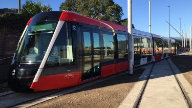 The first tram is unveiled for Sydney's $2.1 billion light rail line.