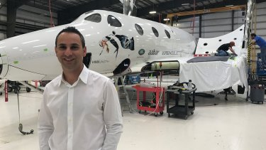 Enrico Palermo, executive vice-president of The Spaceship Company, in front of the VSS Unity at the company's headquarters in the Mojave Desert.