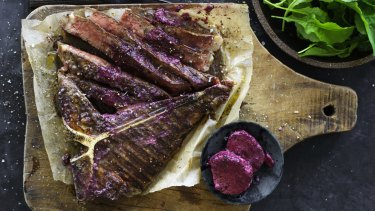 Barbecued aged beef T-bone with red-wine butter.