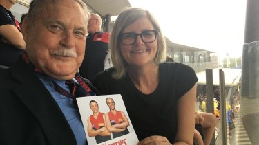 Mostyn with another footy force in both Melbourne and Sydney, Ron Barassi.
