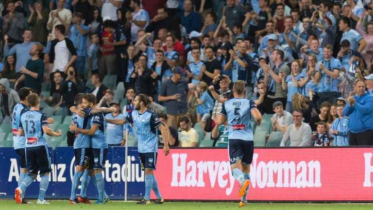 Milos Ninkovic celebrates in front of the Sydney FC fans.