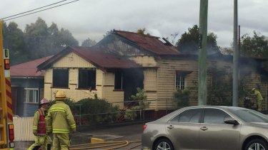 Fire crews battled to control the blaze as the fire ripped through the house and caused the roof to collapse.