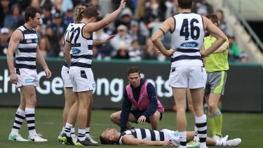 Knockout blow: Joel Selwood after his collision with Fremantle's Hayden Ballantyne.