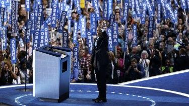 President Barack Obama takes the stage.