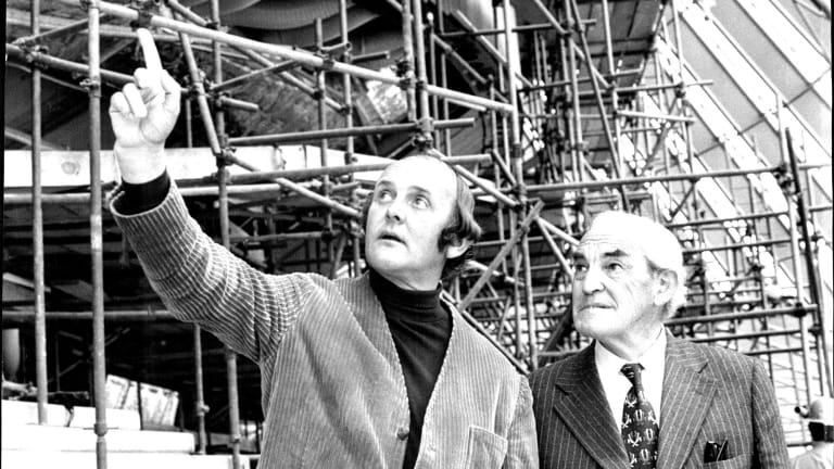 Artist John Olsen with Davis Hughes, who was NSW minister for public works in the 1965 Askin government, during a visit to the Sydney Opera House.