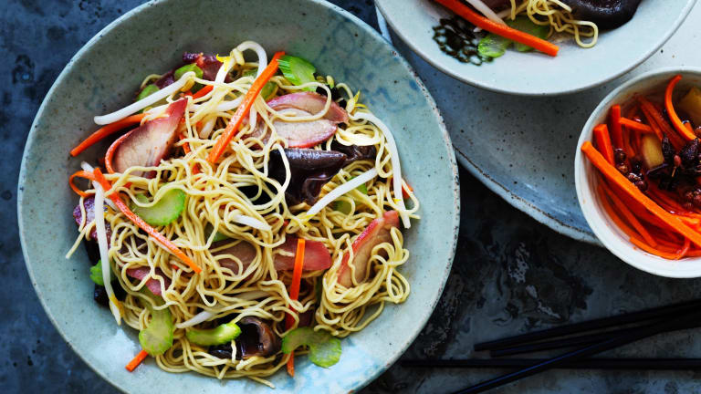 Serve this noodle salad at room temperature.