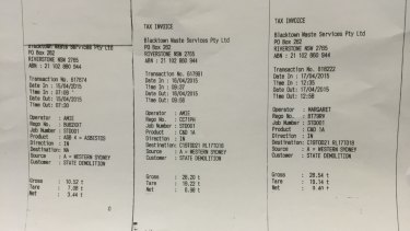 Receipts showing the asbestos was properly disposed