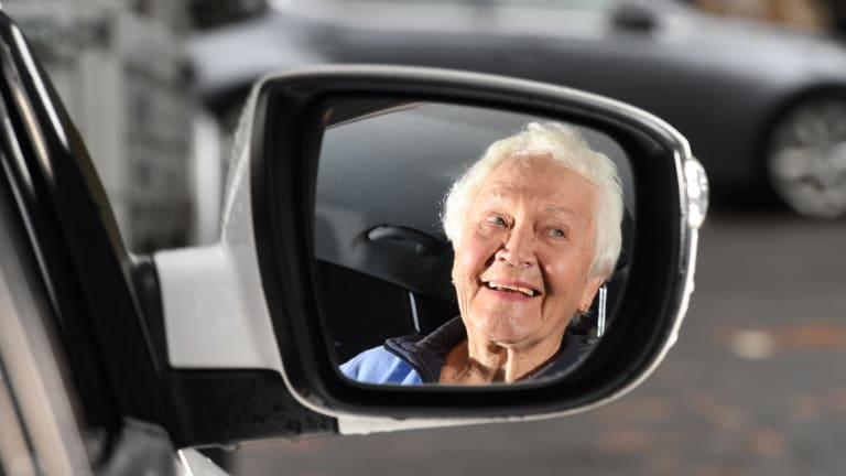 Shirley Bains is 85 and she has just passed her driving test, which is compulsory for anyone 85 and older every two years in NSW.