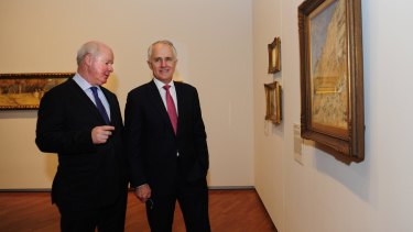 Prime Minister Malcolm Turnbull at the National Gallery of Australia in Canberra for the opening of the Tom Roberts exhibition with the National Gallery of Australia Director Gerard Vaughan.