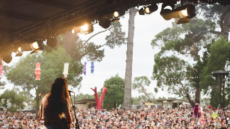 Melbourne band Camp Cope at the Meredith Supernatural Amphitheatre.