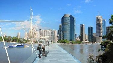 An artist impression of the proposed Kangaroo Point-CBD pedestrian bridge.