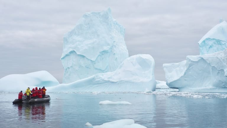 Ice floes form beautiful natural sculptures in Antarctica.