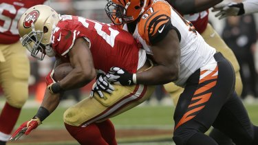 Crocked: San Francisco running back Shaun Draughn suffered an injury in Sunday's game against Cincinnati.