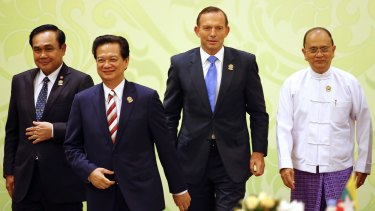 Jobs not climate: Prime Minister Tony Abbott on Thursday at ASEAN, with leaders from Thailand, Vietnam and Myanmar.
