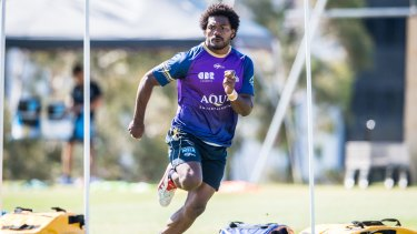 Henry Speight trains for the Brumbies this week.