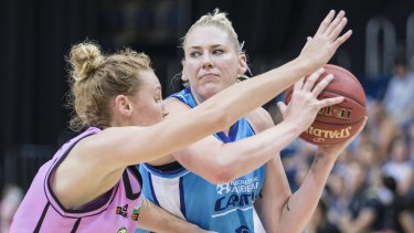 Lauren Jackson of the Canberra Capitals drives at the basket.