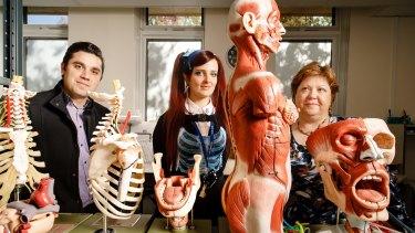 ANU Body Donation program coordinator Dr Riccardo Natoli, Anatomical services specialist Hannah Lewis, and Associate Professor of Anatomy Krisztina Valter.