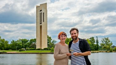Lyn Fuller and Josh Pyke at the National Carillon, which has won an award.