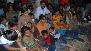 Sri Lankan asylum seekers caught by Indonesian authorities en route to Australia in Merak in 2009.