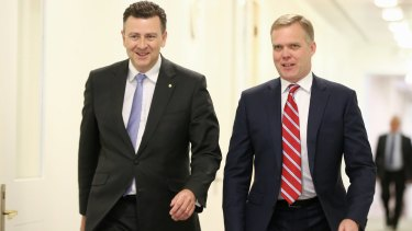 Liberal MP Andrew Southcott (left) lost out in his push to win the Speakers job in Canberra. Tony Smith (right) got the nod. Nick Xenophon says the Liberal Party has lost the benefit of incumbency in Boothby now that Dr Southcott is going.