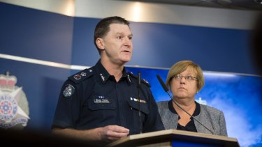 Acting Chief Commissioner Shane Patton speaks to the media about the perceived threat of African youth crime.