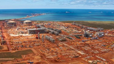 Aerial View of Chevron's Gorgon LNG Plant being built on Barrow Island in 2013.