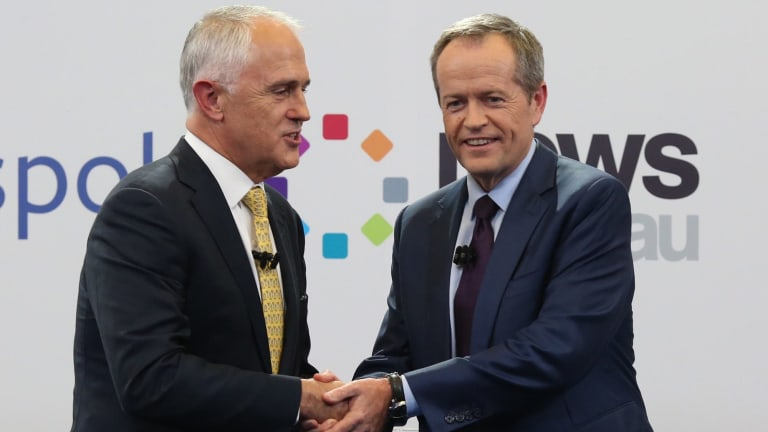 Prime Minister Malcolm Turnbull and Opposition Leader Bill Shorten shake hands at the Facebook debate.