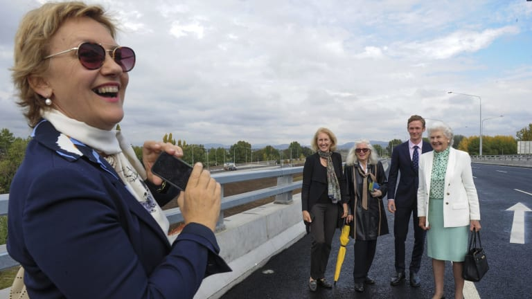Tamie Fraser poses for a photo on the bridge with her daughter, Phoebe Wynn-Pope, friend Dimity Davy, grandson Sandy Marshall, taken by daughter, Angela Marshall,..