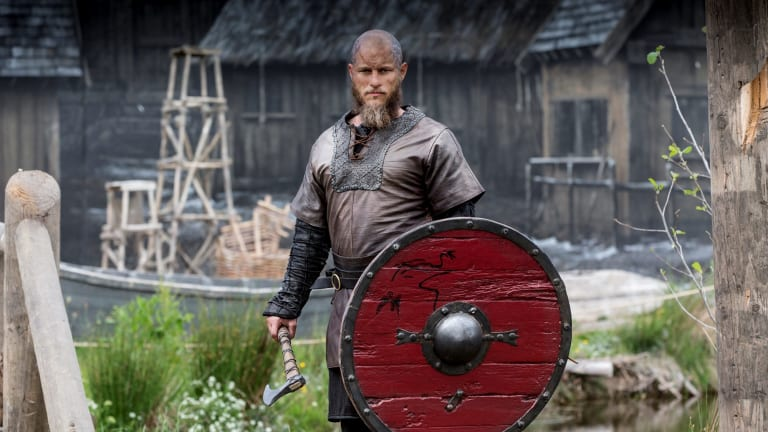 Travis Fimmel in <i>Vikings</I>, which is filmed in Ireland where the actor lives.