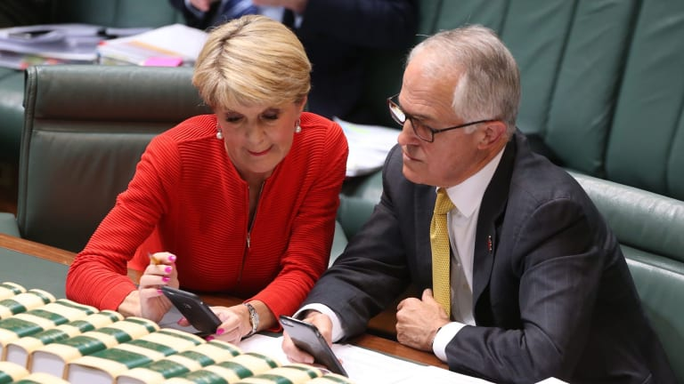 Prime Minister Malcolm Turnbull and Foreign Affairs Minister Julie Bishop  keep abreast of the US election results during question time on Wednesday.