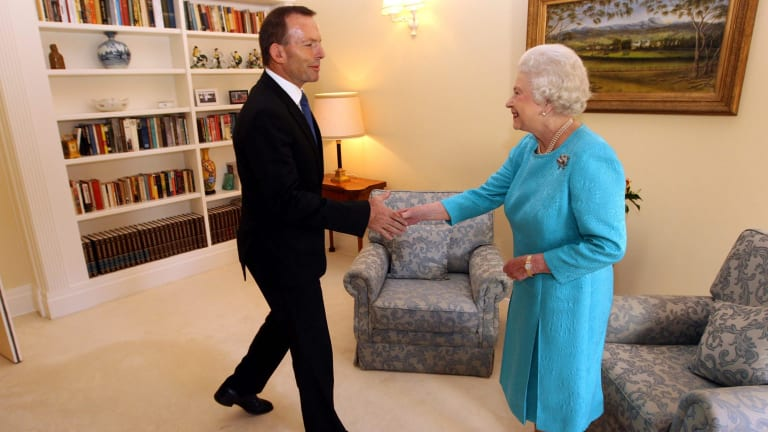 In happier times: Then Opposition Leader Tony Abbott meets the Queen in 2011.