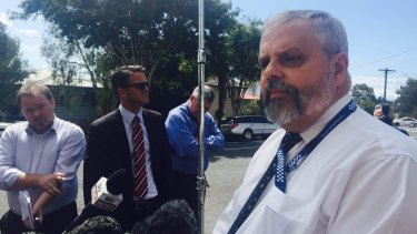 Acting Detective Superintendent Geoff Sheldon addresses the media after the discovery of a dead girl at Kedron.