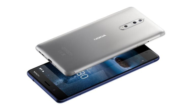 The Nokia8 in steel (above) and tempered blue.