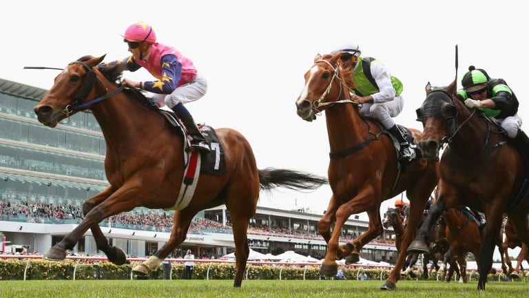 Chad Schofield hits the front on De Little Engine on Melbourne Cup day last year.