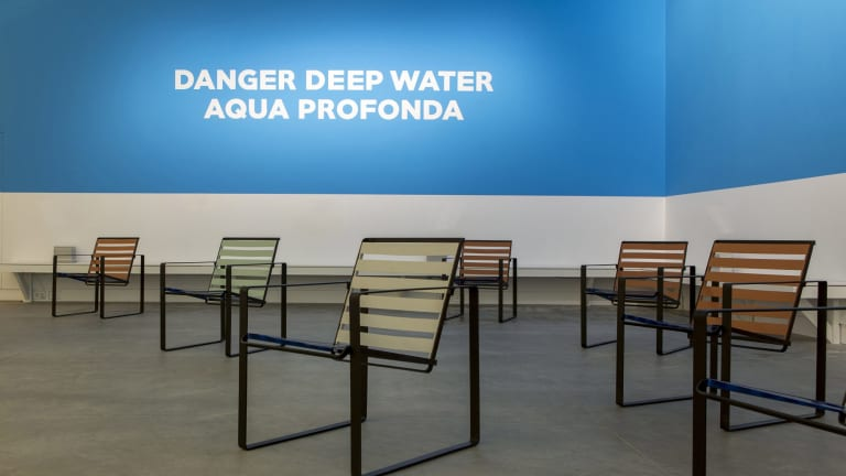The Pool installation at the Venice Architecture Biennale echoed elements of Australian sites such as the sign at Fitzroy pool.