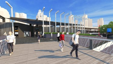An artist's impression of new pedestrian entrance to Flinders Street Station from Southbank Promenade.