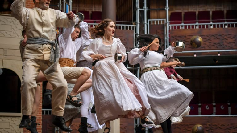 A jig by any other name: Much Ado About Nothing cast members perform a dance that mixes Jacobean and Maori dances.