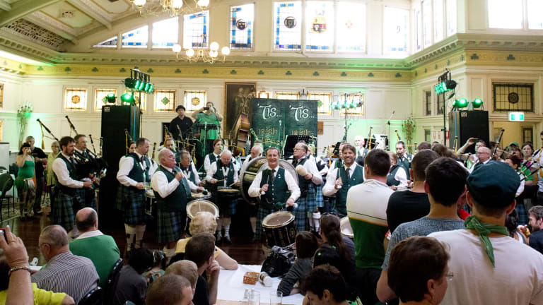 The Queensland Irish Association Pipe Band perform at the Irish Club in 2013.
