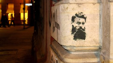 Haha's stencil of Ned Kelly in Berlin has been seen all over Melbourne, and even in Berlin.