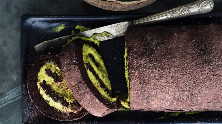 Rolled chocolate cake with matcha cream