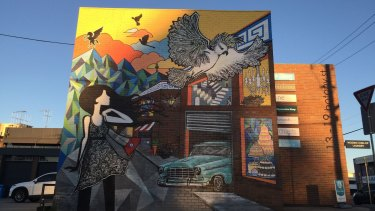 Lisa Twomey's mural on a Phillip building.
