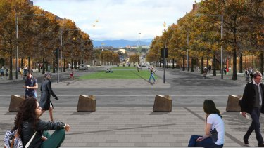 Looking towards Parliament House from the new Blamey Square on Kings Avenue.