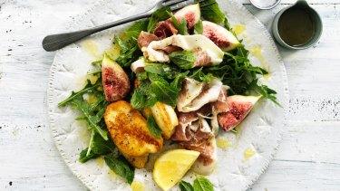 Warm salad of haloumi, prosciutto and figs.