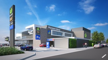 An artist's impression of the Library and Woolworths development at Wynnum.