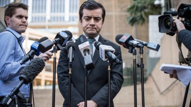Senator Sam Dastyari speaks to the media on Tuesday about the donations scandal.