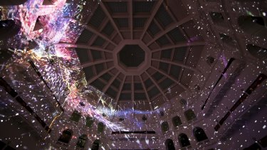 The Reading Room Dome of the State Library of Victoria during White Night.