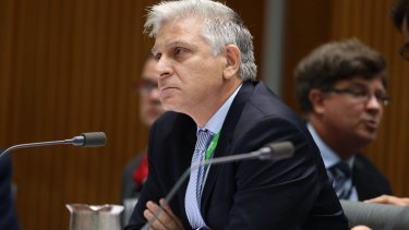 Lost his notes: Attorney-General Department Secretary Chris Moraitis before a Senate committee last month.