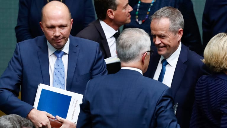 Immigration Minister Peter Dutton, Prime Minister Malcolm Turnbull and Opposition Leader Bill Shorten.